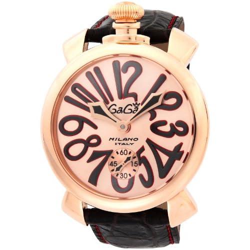 [ガガミラノ]GaGa MILANO 腕時計 マニュアーレ48mm ピンク文字盤  カーフ革ベルト 手巻き スイス製 5011.11S-DBR メンズ 【並行輸入品】
