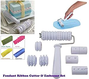 fondant ribbon cutter roller embosser cake decorating kitchen home. Black Bedroom Furniture Sets. Home Design Ideas