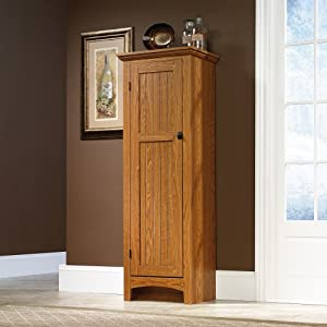 Storage cabinet pantry oak finish free for Amazon kitchen cabinets