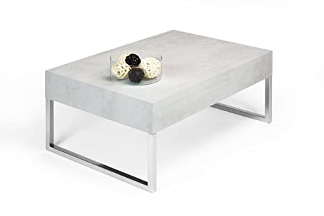 Mobilifiver Evo XL - Mesa auxiliar de salón, madera, cemento, 90 x 60 x 40 cm
