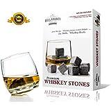 Premium Whiskey Stones - Scotch Rocks - Best Christmas Gift Box Set of 9 Whisky Chilling Cubes - Lifetime Guarantee