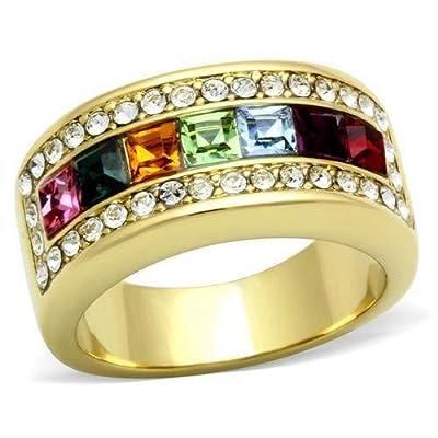 YourJewelleryBox GLO28PB MULTI GEM PRINCESS ETERNITY SIMULATED DIAMOND RING WOMENS BAND YELLOW
