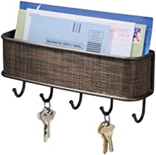 InterDesign 95870EU Twillo Wandmontiertes Schlüsselbrett und Postablage, Bronzefarben