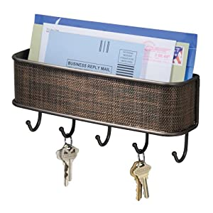 InterDesign Wall Mount, Mail and Key Rack, Bronze