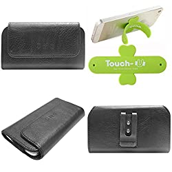 DMG Durable Cell Phone Pouch Carrying Case with Belt Clip Holster for Lenovo A369i (Black) + Touch U Mobile Stand