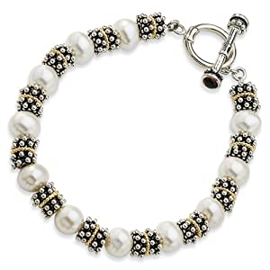 Sterling Silver with 14k 8.5-9mm Freshwater Cultured Pearl 8.25in Bracelet