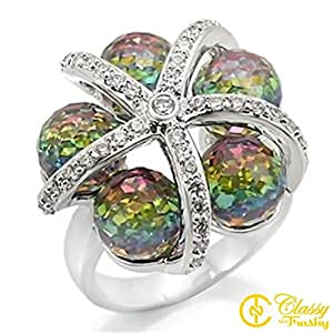 Size 6 MultiColor Crystal Brass Rhodium Ring