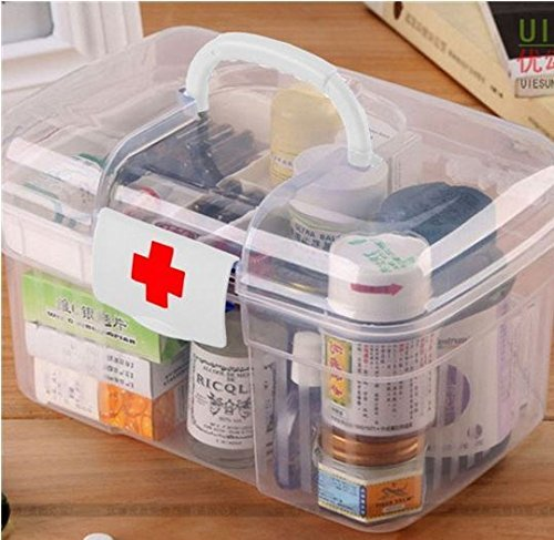 2 Layers Health Pill Chest Aid Kit Medicine Drug Bottle Storage Container Box Clear Plastic by STCorps7 (Medicine Bottle Container compare prices)