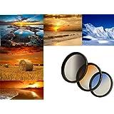 3er Verlaufsfilter Set (Blau, Grau, Orange) für Digitalkameras - Filterdurchmesser 72mm - Inkl. passendem Filtercontainer