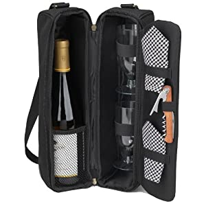 Picnic at Ascot Classic-Sunset Deluxe Wine Carrier for 2, Black