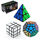 3-Pack Populer Magic Cube Puzzle - Included Pyraminx Speedcubing Black Puzzle, Megaminx Puzzle Cube and Silver Black Mirror Cube