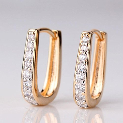 New Design Christmas Zirconia Earrings 18K Gold Platinum Plated Crystal Party Fashion Jewelry Hoop Earring E166A