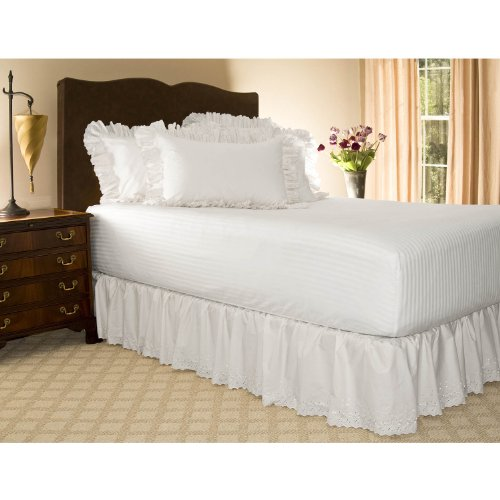 "Twin Xl White Eyelet Ruffled Bed Skirt - 21"" Drop front-1060155"