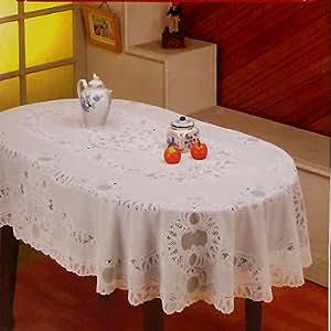"""Amazon.com: Crochet Vinyl Tablecloth (60"""" x 90"""" Oval ..."""