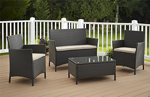 Cosco Outdoor Jamaica 4-Piece Resin Wicker Complete Patio Set, Dark Brown with Tan cushions