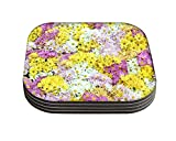 Snoogg Dreams Fields Flower Designer Pack of 4 Square Table Coasters / Table and Kitchen Accessories