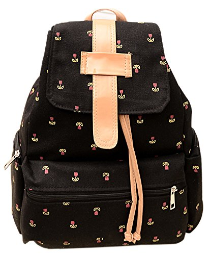 Shot-In Women'S Canvas Travel Satchel Shoulder Bag Backpack School Rucksack (Black)