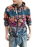 ジャケット フローラルプリント 花柄 ラグラン 長袖 フード付き ジッパー メンズ 多色 マルチカラー M ジップアップ