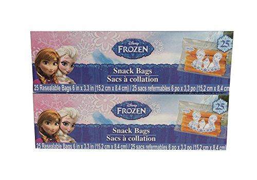 Disney Frozen Snack Bags w/Elsa, Ana, Olaf 50 Bags