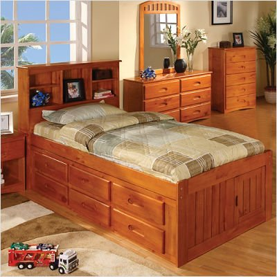 Discovery World Furniture 2120-3DTH / 2120-6DH Honey Twin Bookcase Captain's Bed Configuration: 3 Drawers + 1 Trundle Unit