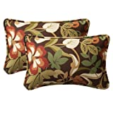Pillow Perfect Decorative Brown/Green Tropical Toss Pillows, Rectangle, 2-Pack