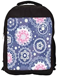 Snoogg Delightful Flower Pattern Cute Backpack Rucksack School Travel Unisex Casual Canvas Bag Bookbag Satchel