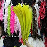 Maslin 50pcs 45-50CM/long Silver Pheasant Tail Feathers DIY Wedding Decorations Lady Amherst red Silver Chicken Feather Plume - (Color: Yellow) (Color: yellow)