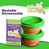 Unique Baby & Toddler Snack Bowls 2 Pack Collapsible With Lids BPA Free Safe Silicone Perfect For Everyday Use & On The Go Snack Bowls, Cereal Bowls Baby Food Storage Containers And Feeding Gift Sets By Sweet Baby Carrot Adults Love 'Em Too!, Model: