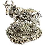 Crafticia Craft Unique Rajasthani Handicraft Traditional Oxidised White Metal Silver Cow And Calf Figurine Decorative...