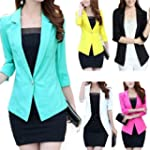 Womens Blazer 3/4 Sleeve One Button L...
