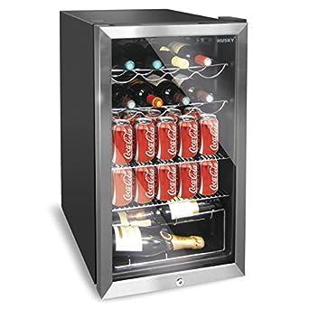Husky HUS-HM39 Personal Wine Refrigerator/Chiller 150L, Chrome Door Effect, Black