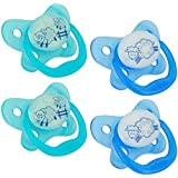Dr. Brown's 4 Piece Glow In The Dark Stage 1 Pacifier For Web, Blue, 0-6 Month
