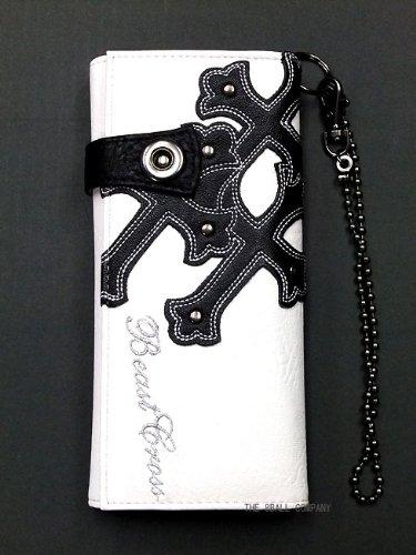 パンク・ロック系ロングウォレット:フェイクレザー クロス・スタッズ チェーン付き ホワイト(白)