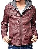 レザージャケット メンズ 大きいサイズ フード付き ライダースジャケット 3L ワイン(37)