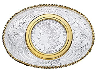 Montana Silversmiths Western Belt Buckle Mens Coin Holder Silver 2650