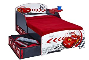 Disney Cars Toddler Bed with Underbed Storage and Shelf