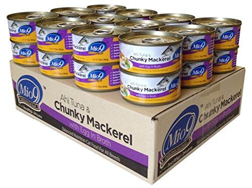 Mio9 Ahi Tuna And Chunky Mackerel Cat Food With Egg, 3-Ounce, 24-Pack