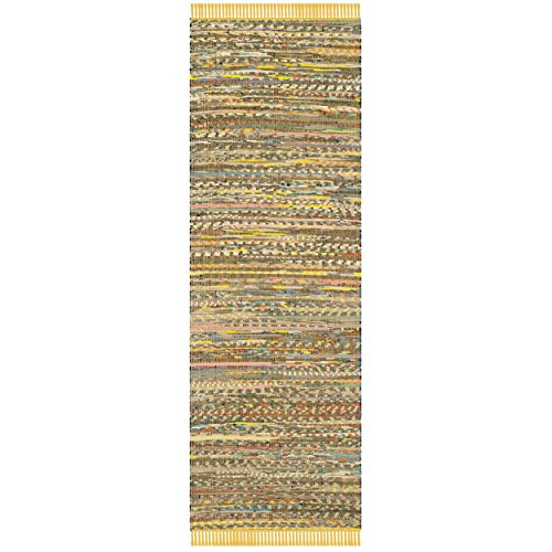 Safavieh Rag Rug Collection RAR121H Hand Woven Yellow and Multi Cotton Runner, 2 feet 3 inches by 7 feet (2'3
