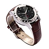 JideTech Bluetooth Wristband Smart Watch With Leather/Steel Watchband Touch Screen 3MP Camera IP67 Waterproof, Build-in Microphone and Speaker Sync Call and Messages (Sliver+Leather)