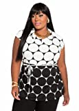 Ashley Stewart Womens Plus Size Monotone Circular Print Top