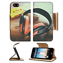 buy Luxlady Premium Apple Iphone 5 5S Flip Case Top View Of Vintage Headphones And Cassettes Image 39053839 Pu Leather Card Holder Carrying