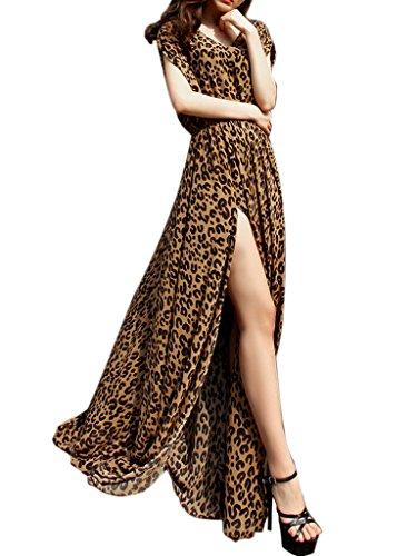 Choies Women's Chiffon Leopard Print Tie Waist Side Split Empire Maxi Dress XL