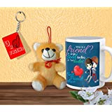 Gift For Friend & Friendship Day Gift Set Of Coffee Mug Keychain And Teddy Design 3