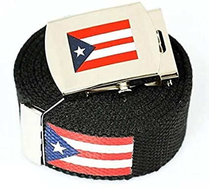 """Puerto Rico Flag"" Canvas Military Black Web Belt & Buckle 60 Inch"