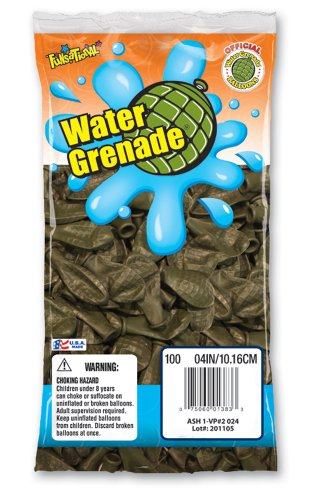 Pioneer National Latex Water Grenade Balloons, Dark Green, 100 Count - 1