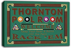 scpy1-2263 THORNTON Pool Room 8 Ball Bar Beer Stretched Canvas Print Sign