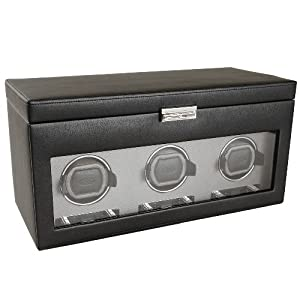 Wolf Designs 456302 Viceroy Collection Module 2.7 Triple Watch Winder with Cover and Storage