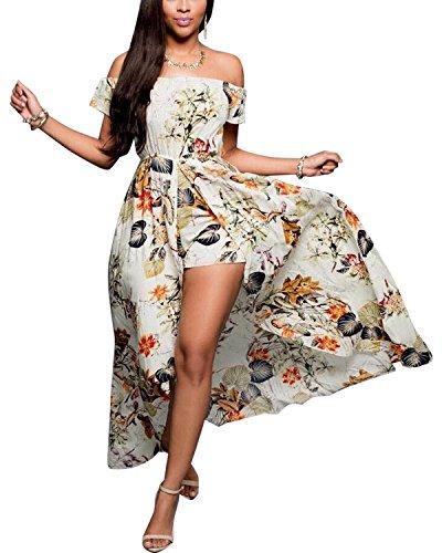 BIUBIU Women's Off Shoulder Floral Rayon Party Maxi Split Romper Dress S