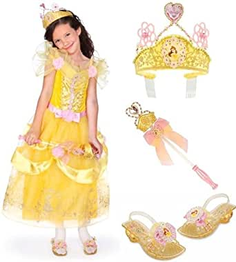 Disney Store Deluxe Princess Belle Costume Gift Set Including Dress (Size Small 5/6), Light Up Shoes (Size 11/12), Light Up Wand and Tiara