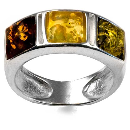 Natural Multicolor Amber Sterling Silver Square Stones Ring